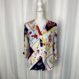 New York & Company SOHO Patchwork Floral Top